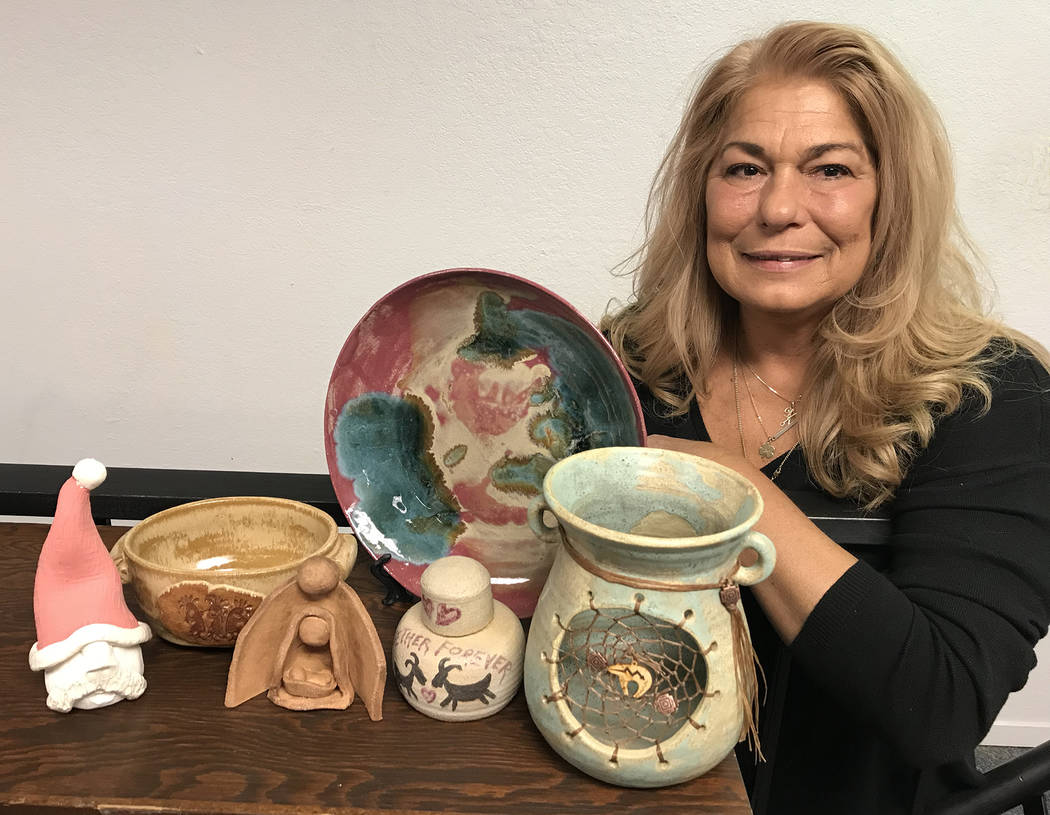 Hali Bernstein Saylor/Boulder City Review Debbie Hagan, a member of the Boulder City Community Club, will showcase her ceramic wares and pottery at the 43rd annual Doodlebug Bazaar presented by th ...