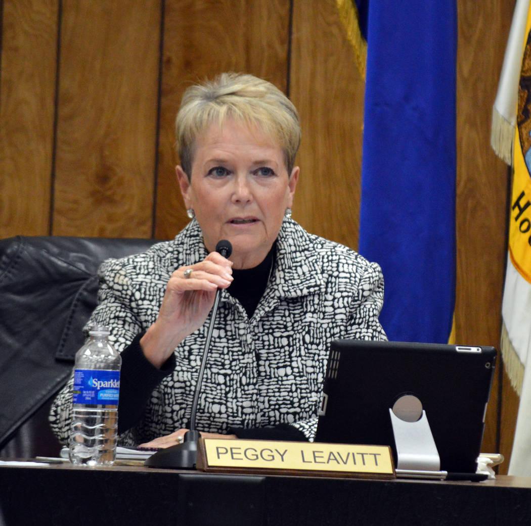 Celia Shortt Goodyear/Boulder City Review Councilwoman Peggy Leavitt asks a question during Tuesday's City Council meeting.