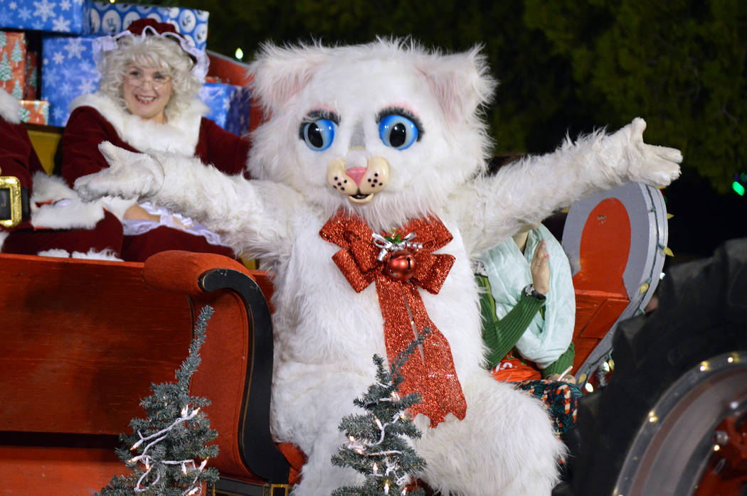Celia Shortt Goodyear/Boulder City Review Jingle Cat makes its appearance in Santa's Electric Night Parade on Saturday, Dec. 2.