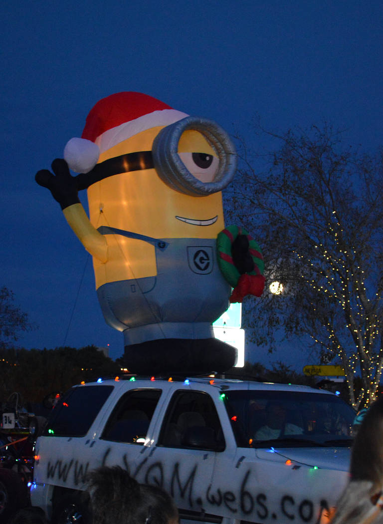 Celia Shortt Goodyear/Boulder City Review A minion attends Santa's Electric Night Parade in Boulder City on Saturday, Dec. 2.