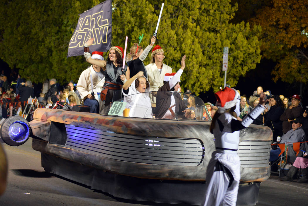 """Celia Shortt Goodyear/Boulder City Review The """"Star Wars"""" landspeeder takes time away from Tatooine to participate in Santa's Electric Night Parade on Saturday, Dec. 2, in Boulder City."""