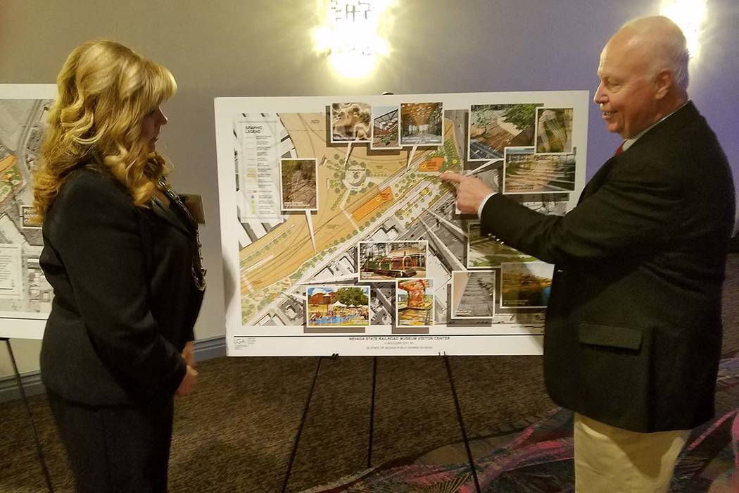 Richard N. Velotta/Las Vegas Review-Journal Peter Barton, administrator for the Division of Museums and History for the Nevada Commission on Tourism, shows a site plan for the Nevada State Railroa ...