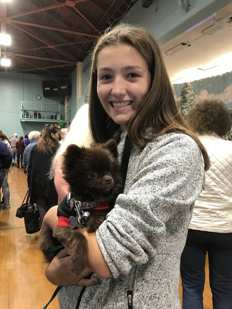 """Hali Bernstein Saylor/Boulder City Review Mykal Yanke of Las Vegas brought her chocolate Pomeranian, BooBoo, to the Doodlebug Bazaar on Saturday. BooBoo was wearing a sweater that said """"Santa Let  ..."""