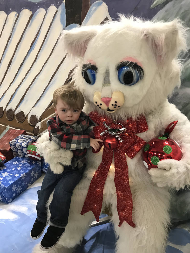 Hali Bernstein Saylor/Boulder City Review Jude Simpson, 2, of Boulder City stopped for a moment to visit with Jingle Cat during Santa's Picture Party on Saturday. Jude was enamoured with nearby de ...
