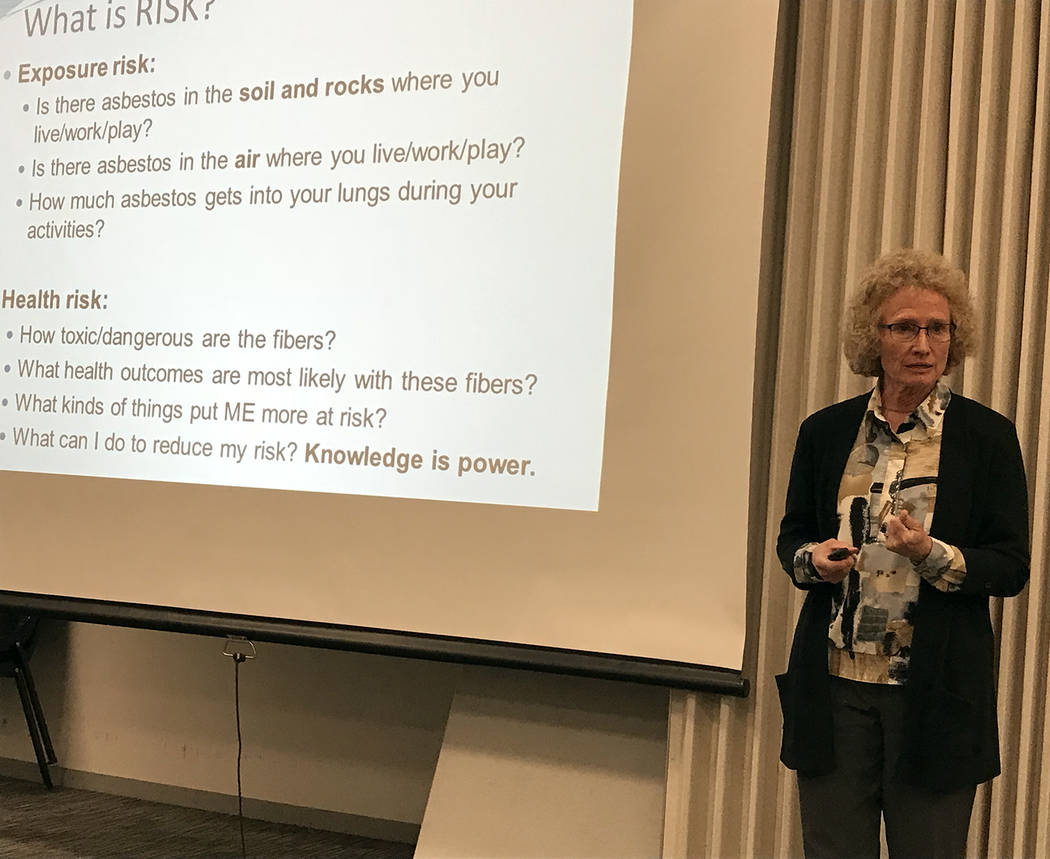 Hali Bernstein Saylor/Boulder City Review Jean Pfau of Montana State University shares findings about her study of the affect of asbestos fibers on mice during a special presentation at the Boulde ...