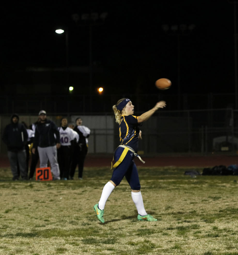 Tristin Phelps/Boulder City Review Boulder City High School senior Nicole Valle throws the ball to her wide receiver to make it first down during the Lady Eagles' 26-6 victory over Sunrise Mountai ...