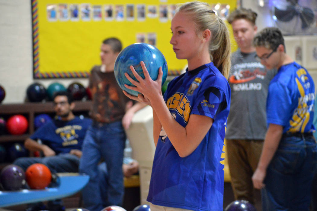 Celia Shortt Goodyear/Boulder City Review Boulder City High School bowler Camille Torgesen prepares to bowl at the team's first meet of the season in November.