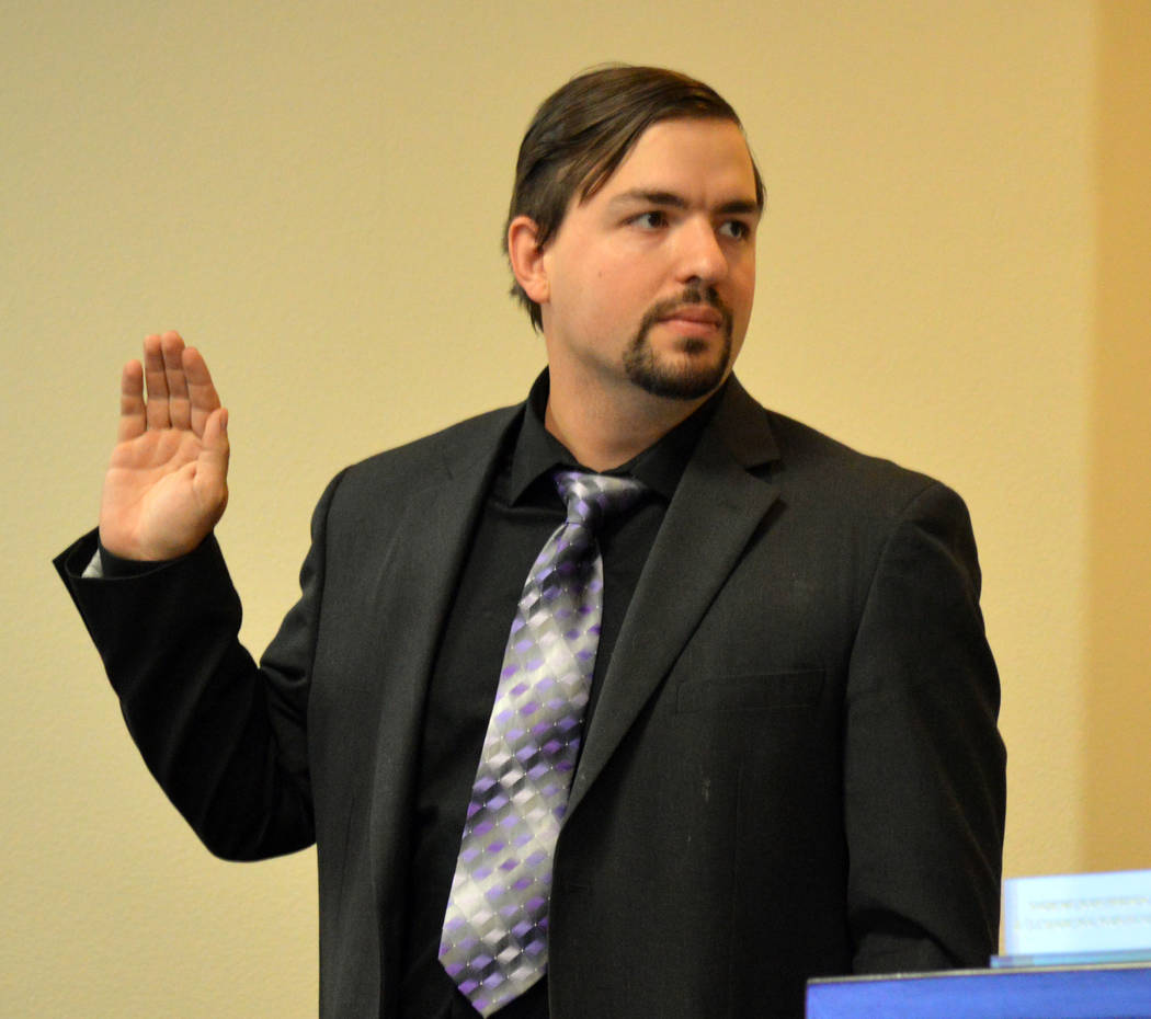 Celia Shortt Goodyear/Boulder City Review Benjamin Jurek, Boulder City information technology support technician, is sworn in during an evidentiary hearing Wednesday for a motion to dismiss a city ...
