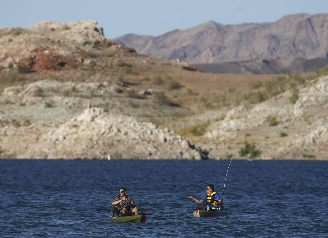 Chase Stevens/Las Vegas Review-Journal Fishermen were seen at Lake Mead National Recreation Area in August 2017.