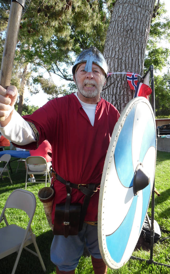 Hali Bernstein Saylor/Boulder City Review From May: Bob Sturgeon, president of the Vegas Valley Lodge, Sons of Norway, came to the Desert Troll's Norwegian Constitution Day celebration in Bicenten ...