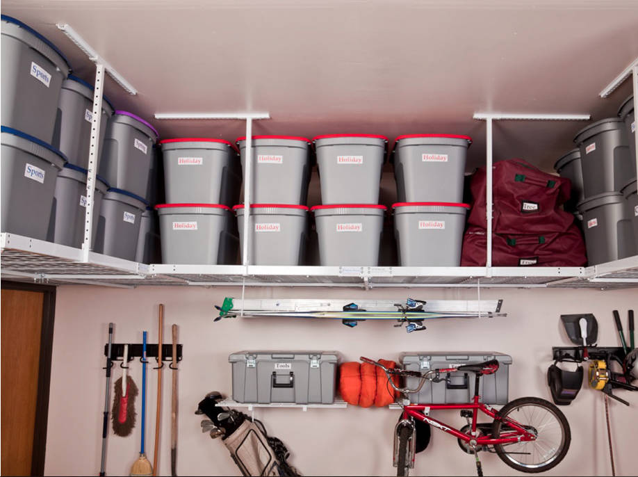 Norma Vally Take advantage of overhead space in your garage for storage.