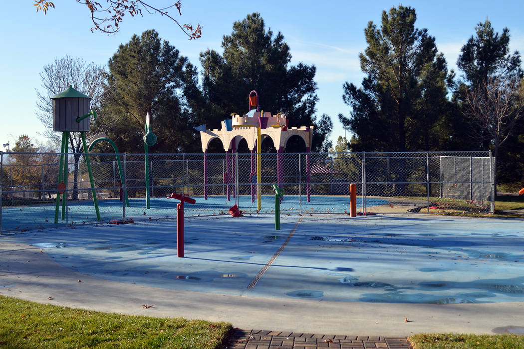 Celia Shortt Goodyear/Boulder City Review Boulder City's splash pad at Veterans Memorial Park on Buchanan Boulevard is undergoing renovations that are scheduled to be completed this month.