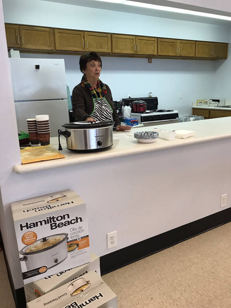 Hali Bernstein Saylor/Boulder City Review Patty Jacobson, a member of St. Christopher's Episcopal Church, teaches the December Jump Start Kitchen Class, offering nutritional information about cabb ...