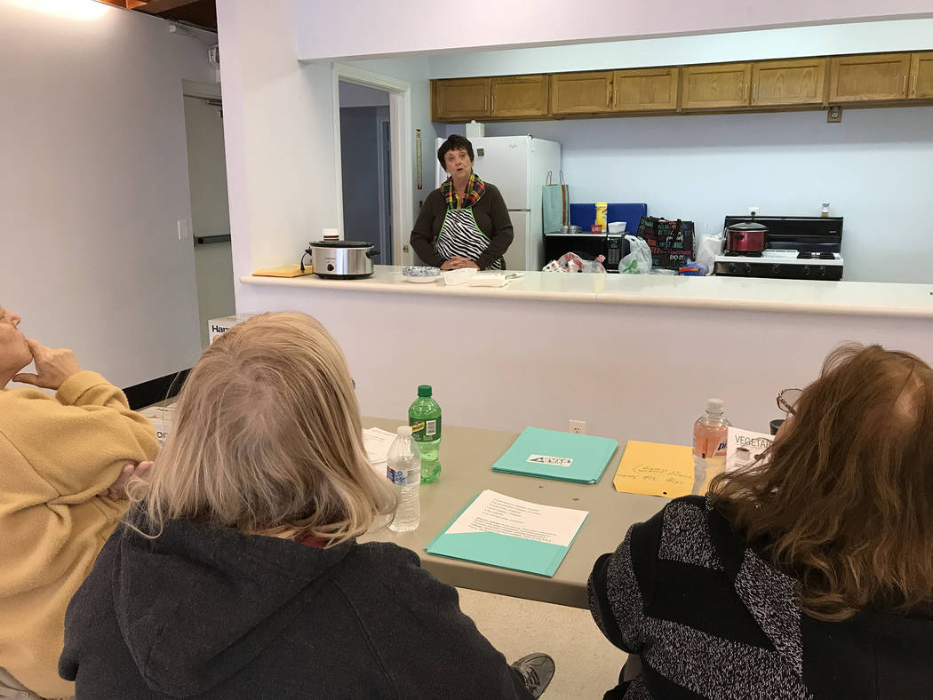 Hali Bernstein Saylor/Boulder City Review Patty Jacobson, a member of St. Christopher's Episcopal Church, teaches the December Jump Start Kitchen class offering nutritional information about cabba ...