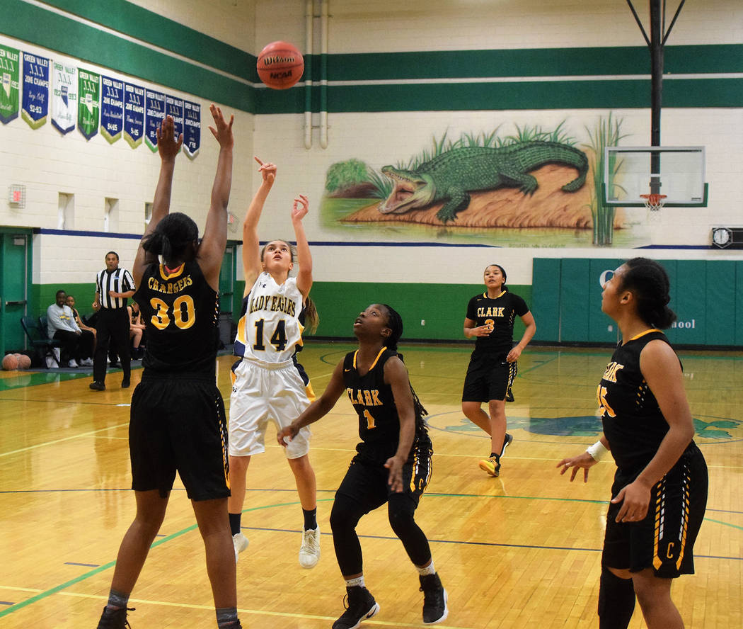 Robert Vendettoli/Boulder City Review Boulder City High School sophomore guard Keely Alexander pulls up for a midrange jump shot against Clark on Friday, Dec. 29 in the Gator Winter Classic at Gre ...