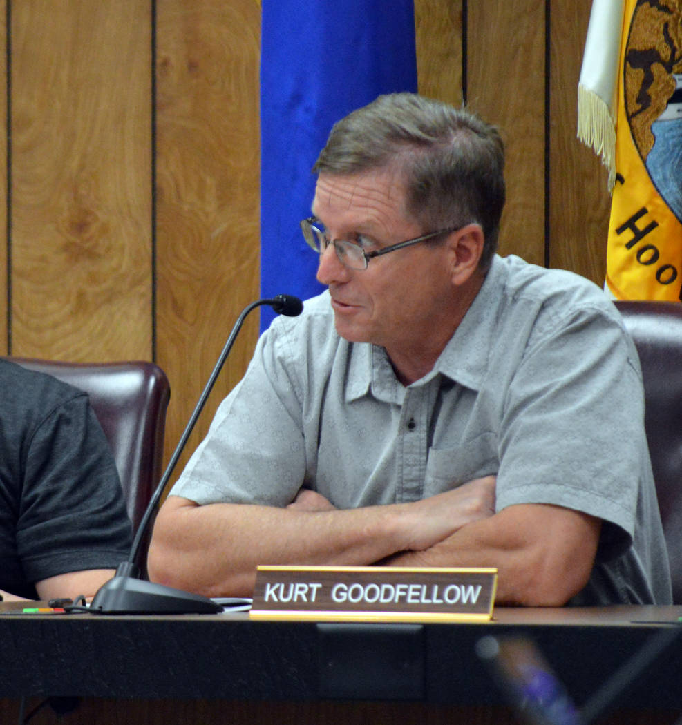 Celia Shortt Goodyear/Boulder City Review Airport Advisory Committee member Kurt Goodfellow comments on the proposed changes to the committee during its meeting Tuesday.