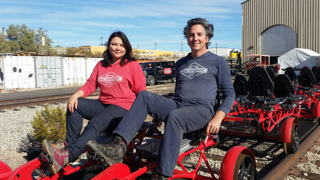 Celia Shortt Goodyear/Boulder City Review Mary Jo Lu and her husband, Alex Catchpoole, founders of Rail Explorers, have started their Las Vegas division, which opened for tours Wednesday at the Ne ...