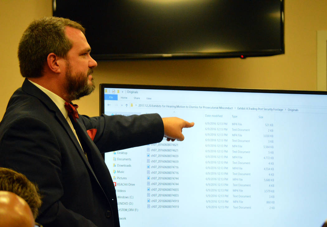 Celia Shortt Goodyear/Boulder City Review Attorney Stephen Stubbs presents evidence for the defense during a hearing Dec. 20 for a motion to dismiss for prosecutorial misconduct in the city's case ...