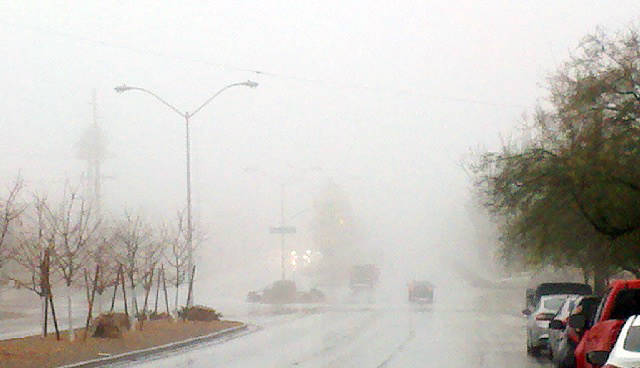 Paul Luisi Fog and low clouds on Tuesday limited visibility along Adams Boulevard, near Buchanan Boulevard and the Boulder City Hospital. As of noon Tuesday, the National Weather Service reported  ...