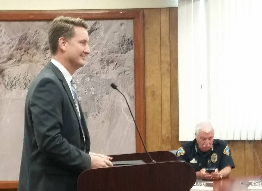 Celia Shortt Goodyear Acting City Attorney Steve Morris addresses members of City Council during his September interview for the permanent position.