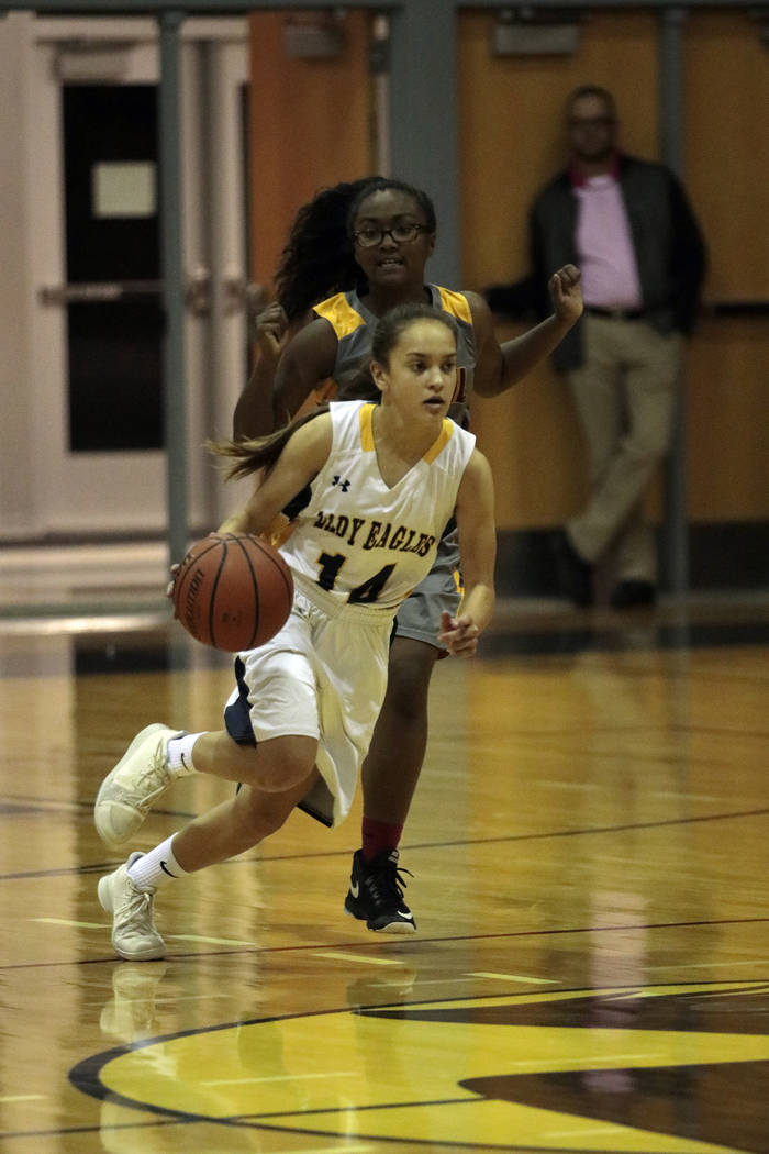Bryce Rogers/Boulder City Review Keely Alexander, a sophomore at Boulder City High School, scored 11 points Tuesday to help the Lady Eagles defeat Del Sol 40-29 at home.