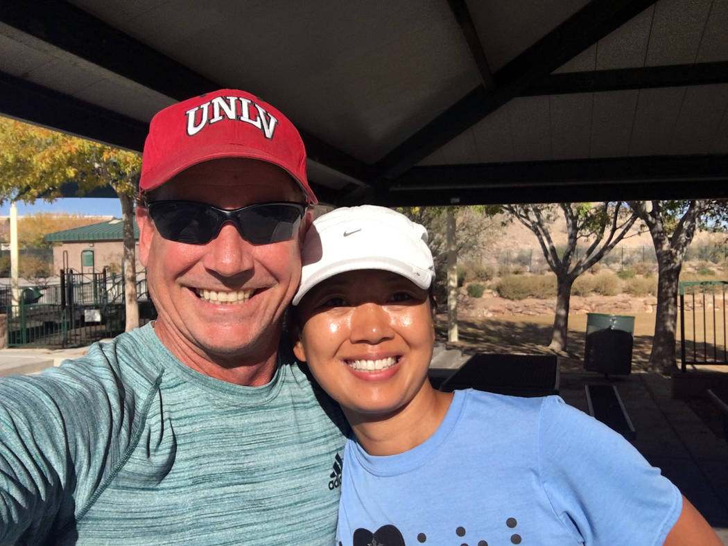 Achilles Las Vegas Boulder City resident John Sterling has started an Achilles International for Las Vegas to help disabled people experience the joy of running. Terri Rupp is one of the blind ath ...
