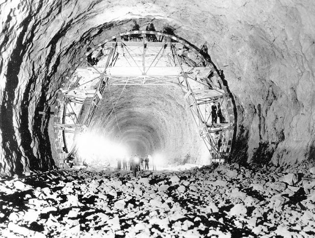 This view shows the interior of one of the tunnels through which the Colorado River will be diverted around the Hoover Dam site in Boulder City on April 18, 1932. The project is in the early stage ...