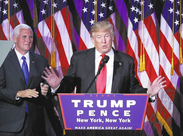 John Locher/The Associated Press President-elect Donald Trump gives his acceptance speech during his election night rally Wednesday in New York.