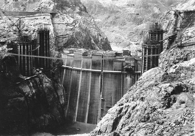 A view of the huge Boulder Dam operation from a high point on the Nevada rim of Black Canyon, shown Sept. 11, 1934. The immensity of the project can be seen from this picture. The Associated Press
