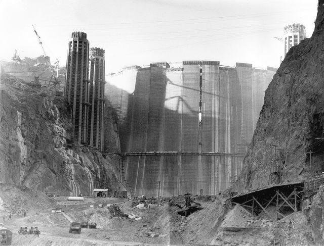 This is a view of the Hoover Dam from upstream as construction continues near Boulder City on Feb. 1, 1935. The crack in the upper center of the dam is a space left open for cooling and settling t ...