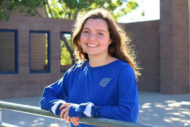 Laura Hubel/Boulder City Review Boulder City High School senior Abby Sauerbrei has signed her National Letter of Intent to swim for Grand Valley State University, near Grand Rapids in Allendale, M ...