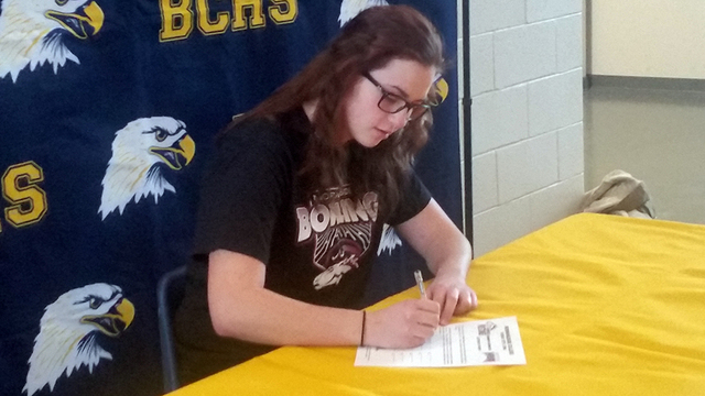 Max Lancaster/Boulder City Review Abigail Harling signs her letter of intent to bowl for Morningside College in Sioux City, Iowa, on Tuesday at Boulder City High School. Harling signed to the scho ...