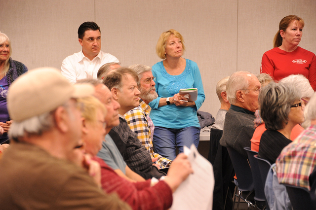 Photo courtesy Lee McDonald Residents listen intently as those running for City Council speak during a Candidates Nights presented by the Boulder City Community Alliance on Feb. 16 at the Boulder  ...