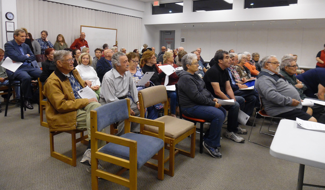 Hali Bernstein Saylor/Boulder City Review Members of the community gathered to hear from those running for a seat on the City Council during the Boulder City Community Alliance's meeting Feb. 16 a ...