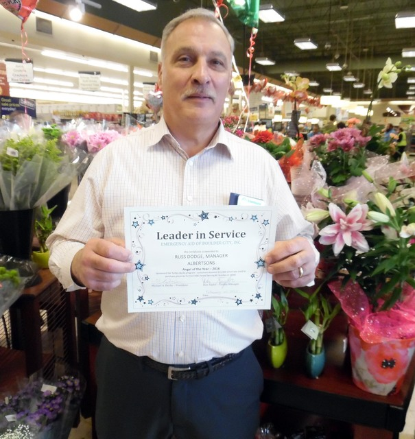 Hunter Terry/Boulder City Review  Russell Dodge was named the Angel of the Year for 2016 by Emergency Aid of Boulder City in appreciation for the fundraising he and his team at the Albertsons on N ...