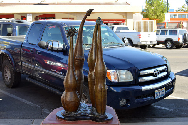 "Max Lancaster/Boulder City Review ""Discussion Group"" is one of the city statues that was recently damaged."
