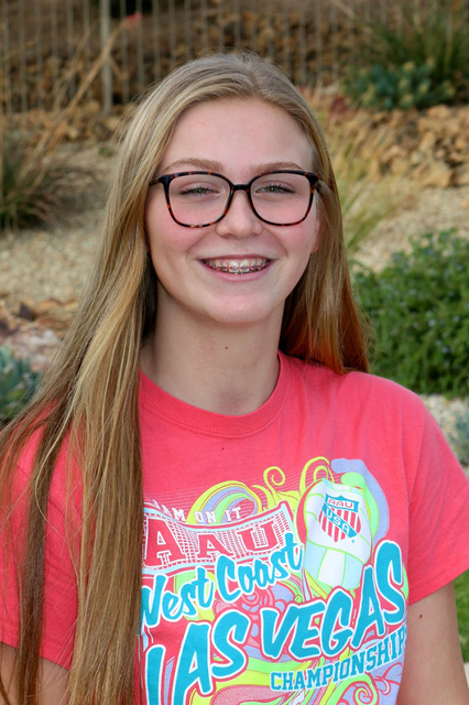 File photo Boulder City High School junior Maggie Roe, co-captain of the girls volleyball team, was selected to the American Volleyball Coaches Association College Phenom Prep for the second conse ...