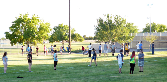 Hunter Terry/Boulder City Review The Boulder City High School marching band began preseason training camp Monday, two weeks before the first day of school, to prepare for the opening game of the f ...