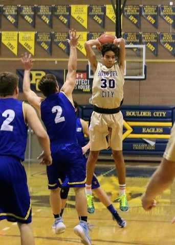 Boulder City High School senior forward Justus Green, seen during a Jan. 6 game against Moapa, should be a breakout star for the Eagles this coming season after good performances during summer tou ...