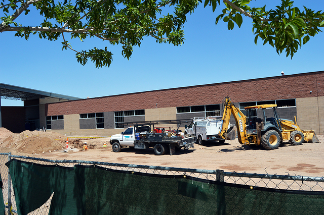 Crews work on the back of the new building at Boulder City High School. The project is the second phase of a four-part renovation of the campus. Max Lancaster/Boulder City Review