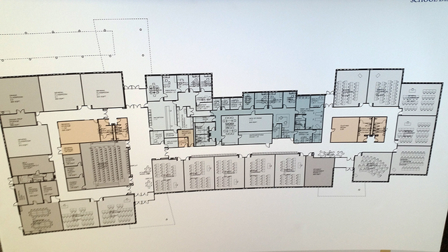 This blueprint shows how the interior of the new building at Boulder City High School will be divided into classroom and an administrative area. Max Lancaster/Boulder City Review