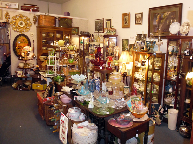 Hunter Terry/Boulder City Review Visitors to Sherman's House of Antiques, 1228 Arizona St., are greeted by plates of candies and cookies, as well as carefully curated rooms of unique antique treas ...