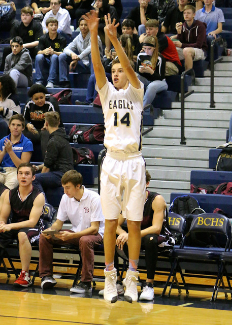 Laura Hubel/Boulder City Review Boulder City High School Junior Karson Bailey, seen here during the Eagles' Dec. 14 games against Pahrump Valley, scored a season-high 21 points and three rebounds  ...
