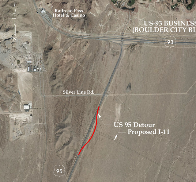 This map shows where U.S. Highway 95 will detour during bridge construction for Interstate 11. The detour starts Sunday and will continue until March 2017. Courtesy Regional Transportation Commiss ...