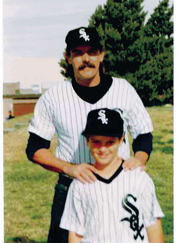 James Camp, seen with his son Ryan, 10, in 1995, was key figure in starting Little League in Boulder City. He died of heart disease Aug. 15. Photo courtesy Camp family