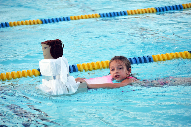 Mekenzie Martorano, 7, races her Princess Leia boat at the Boulder City Parks and Recreation Department's 16th annual Cardboard Boat Race on July 20. Mekenzie didn't place in the race but she di ...