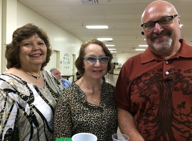 Hali Bernstein Saylor/Boulder City Review Denise Senko, from left, Eva and Jim Fischer attended the Boulder City Chamber of Commerce's awards and installation event Saturday, Oct. 15, 2016, at the ...