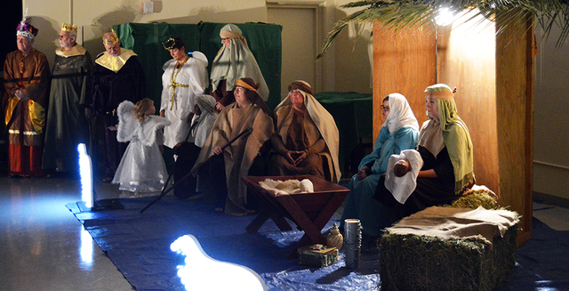 Max Lancaster/Boulder City Review Participants in the annual Luminaria and Las Posadas re-enacted the birth of Jesus Christ at the Boulder City Parks and Recreation gymnasium on Dec.1. The nativit ...