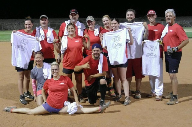 Winners of the Boulder City Parks and Recreation Department's coed softball league championship, the Snap Fitness team, celebrate. Pictured are,back row, from left, Rachel Veronica, Chris Janney,  ...