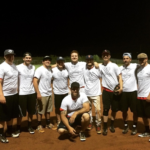 Members of the Pit Stop team celebrate after winning the men's softball summer league championship. Pictured are, standing, from left, Travis Olson, Michael Misuraca, Jake Gullo, Kirk Czarnick, Jo ...